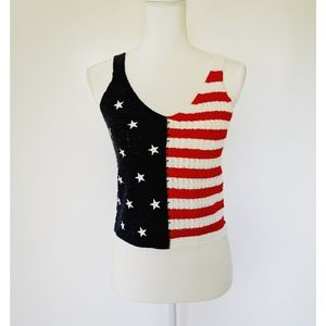 NEW Moon & Madison American Flag knit crop top